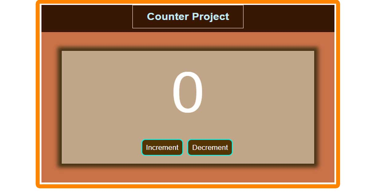 Counter JavaScript Project - Increment and Decrements Number